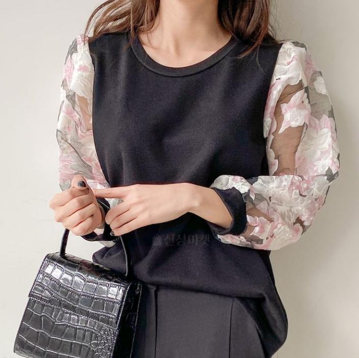 【送料無料】袖がポイント ♡ きれいめ 異素材 シースルー シアー 透け感 花柄 プルオーバー トップス