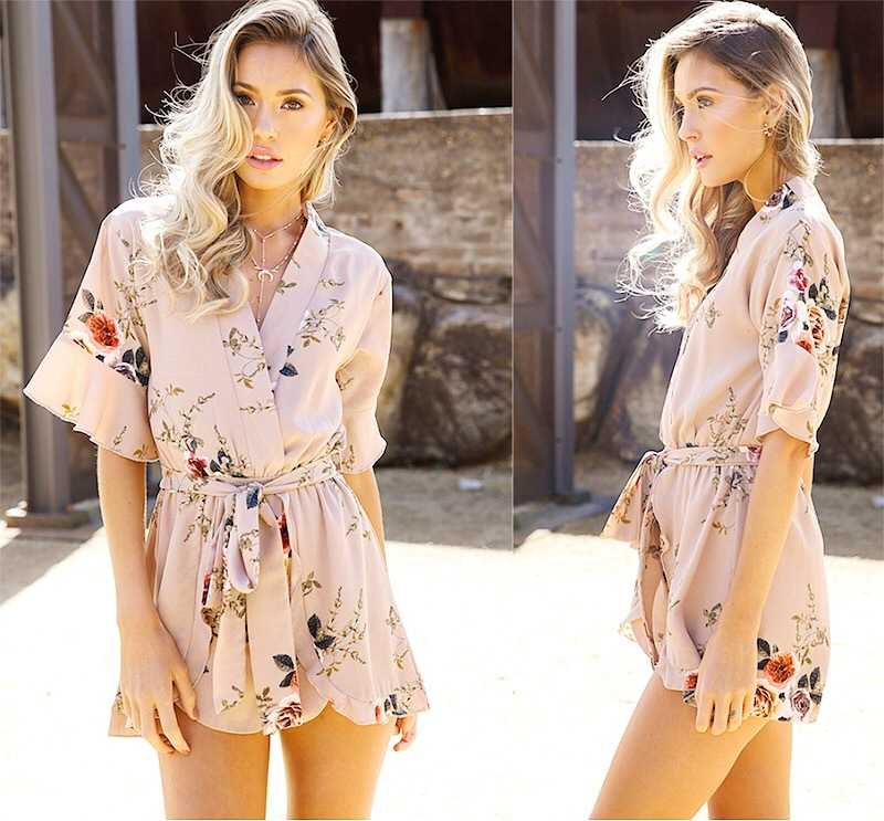 Flower ribbon rompers
