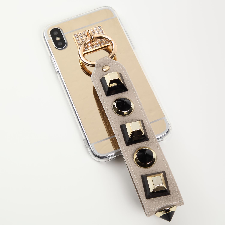 【即納★送料無料】ゴールドミラーソフトケースおしゃれなスタッズ ストラップ  iPhoneケース