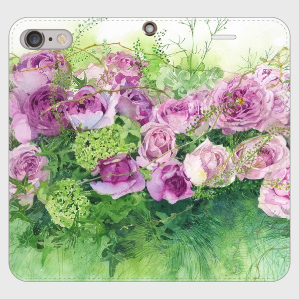【受注生産】帯無し手帳型スマホケース roses roses roses rose・・・・・!大きいサイズ