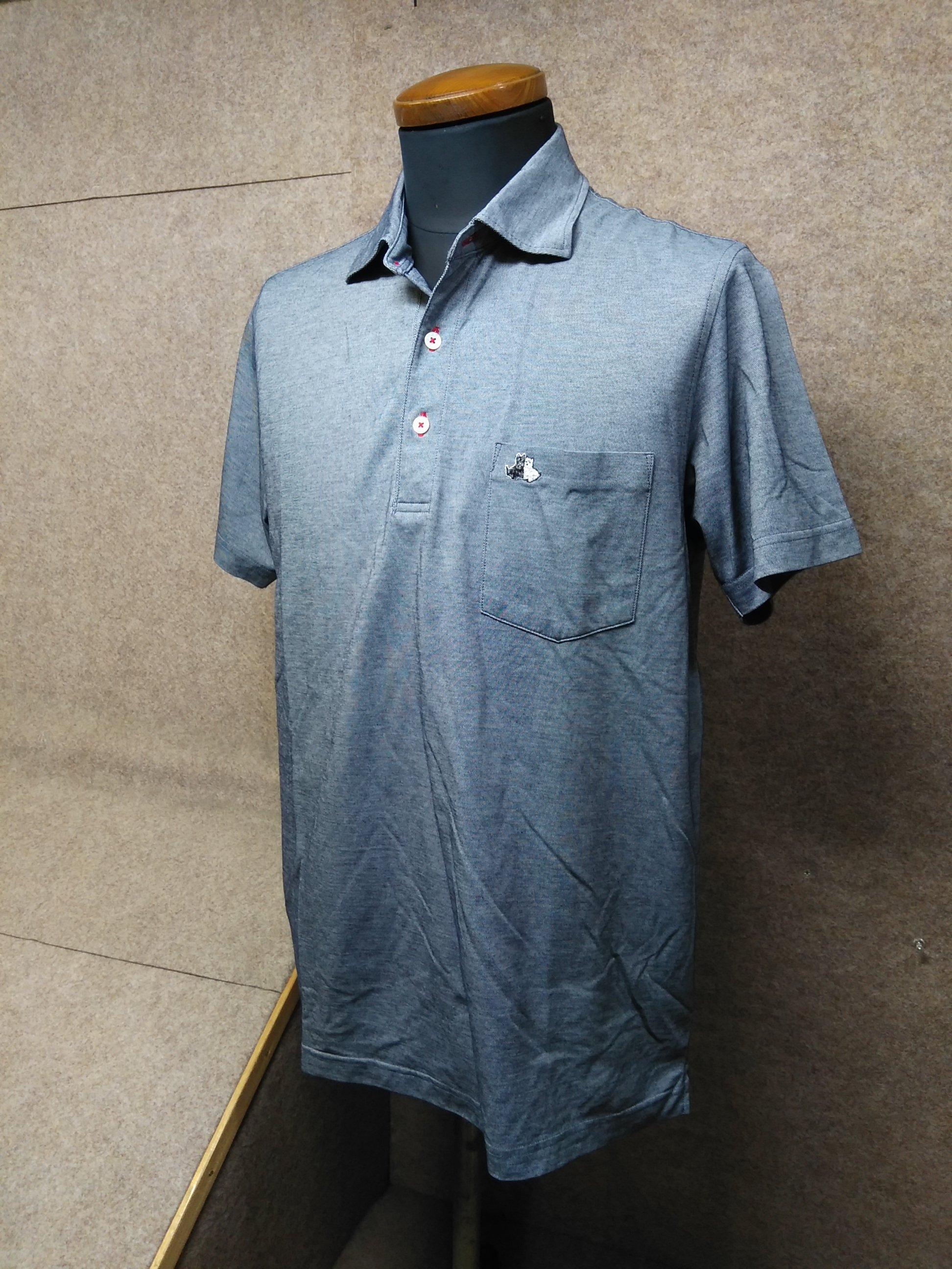 ブラック&ホワイト ポロシャツ メンズ L グレー系 my996c