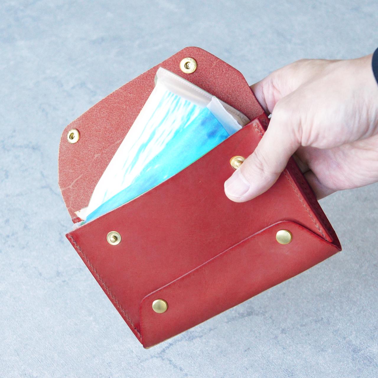 卓上本革ポケットティッシュケース【レッド】(ティッシュ2個収納可)