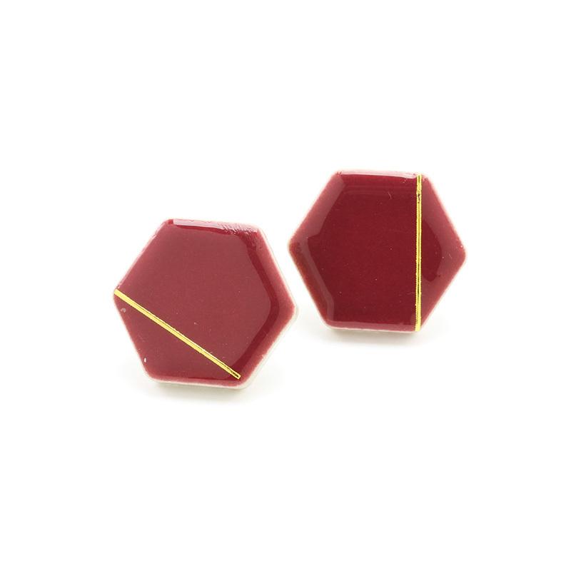 伝統工芸品 美濃焼 六角形 バーガンディ 光芒 イヤリング&ピアス