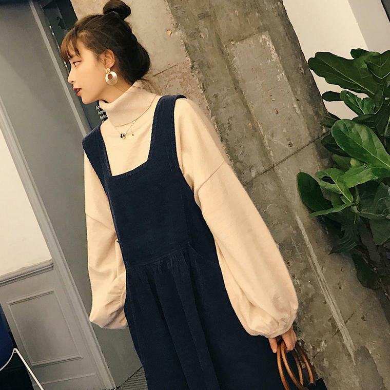 【送料無料】 大人カジュアル♡ タートルネック プルオーバー ニット & コーデュロイ ジャンパースカート セットアップ
