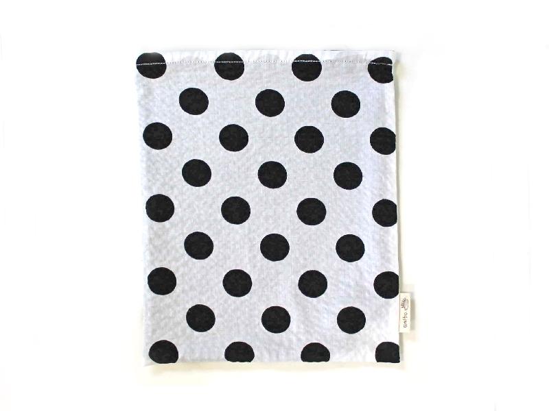 ハリネズミ用寝袋 L(夏用) 綿リップル×スムースニット 水玉 モノトーン