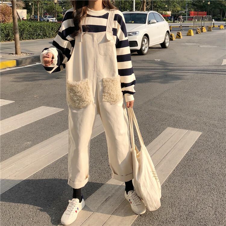 【送料無料】可愛い ボア ポケット ♡ もこもこ カジュアル 異素材 ルーズ サロペット オールインワン パンツ