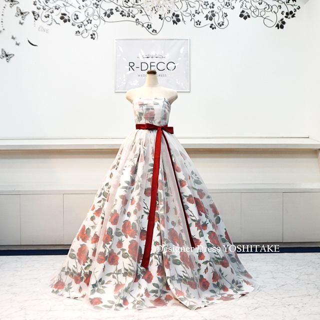【オーダー制作】ウエディングドレス(Aラインパニエサービス) 花柄に白いオーガンジー 披露宴/二次会 ※制作期間3週間から6週間