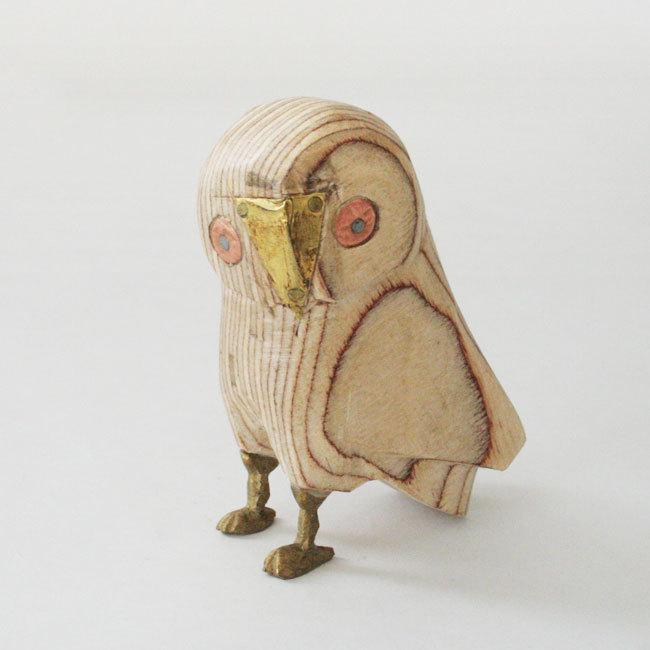 真鍮と木製のフクロウ /198/ INDIA インド