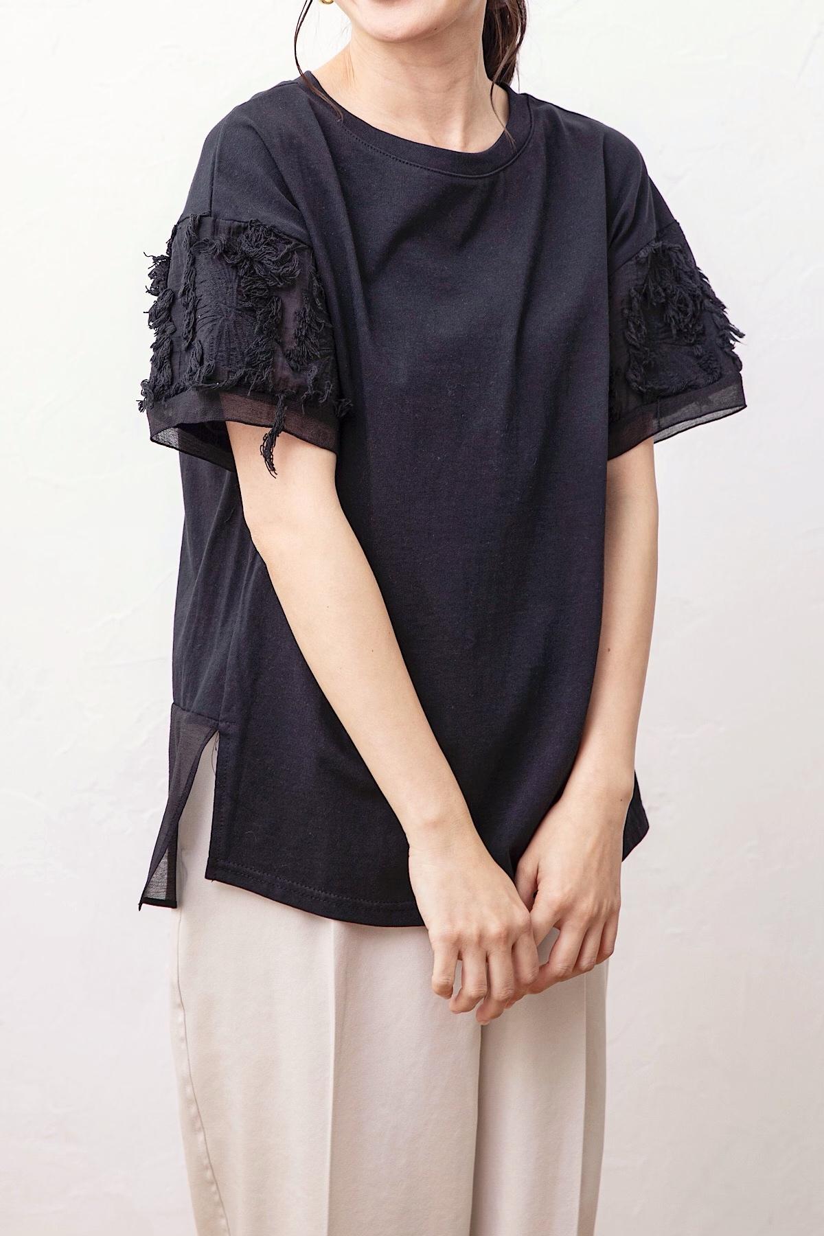 ジャガードスリーブTシャツ <BLACK>