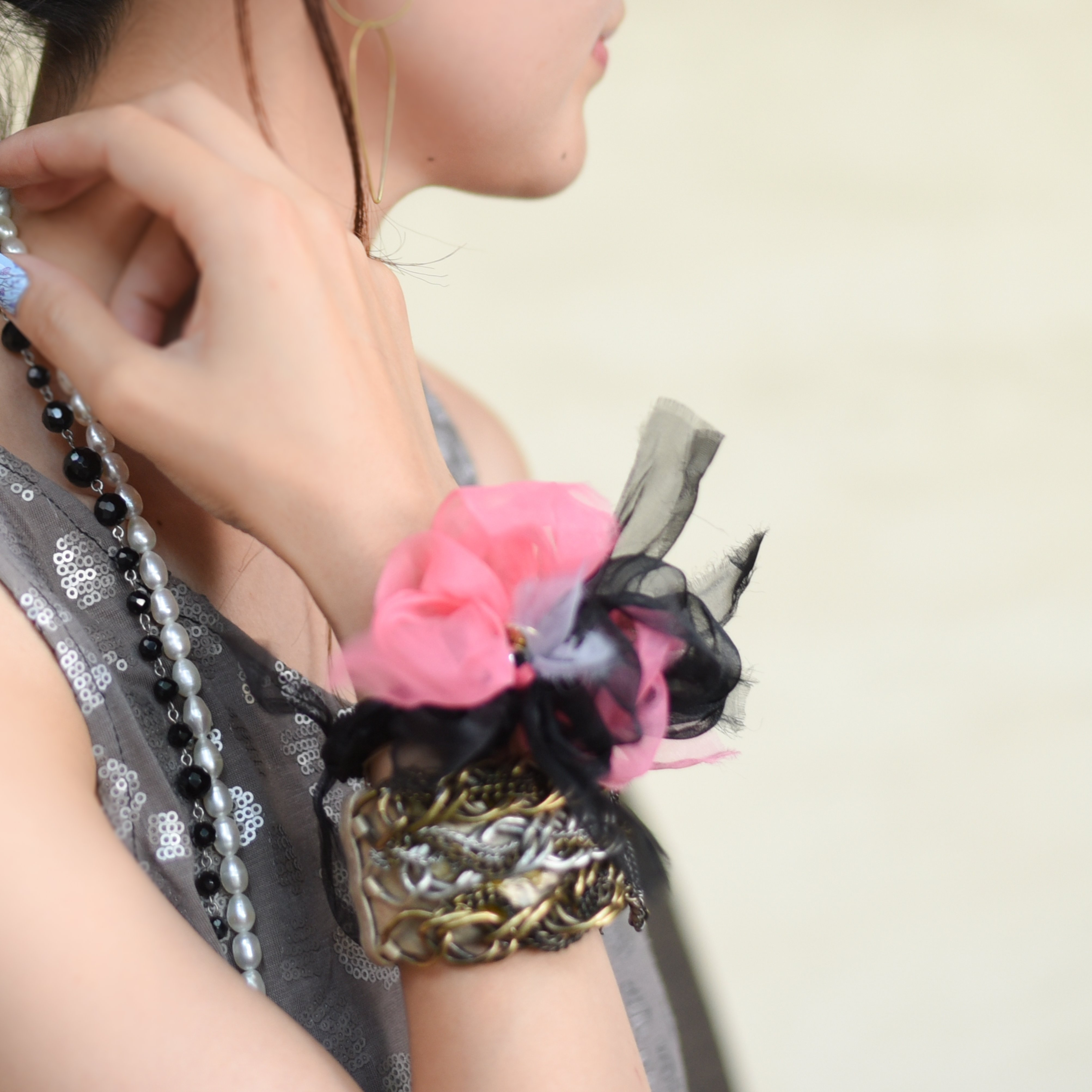 <mini>LOVE~彩る咲き編みシュシュ