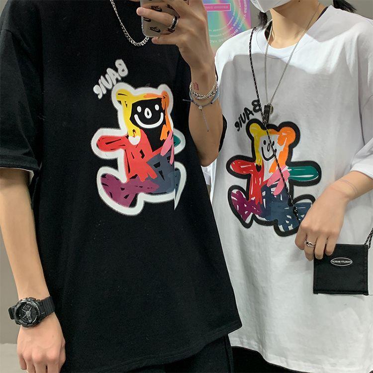 ユニセックス Tシャツ 半袖 メンズ レディース 落書き風 英字 クマちゃん オーバーサイズ 大きいサイズ ルーズ ストリート