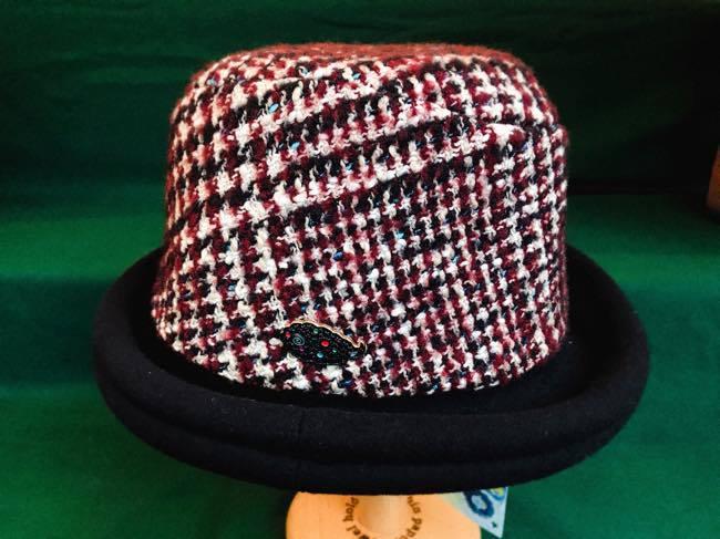 chikyu   ちきゅう      ツィードロールアップハット  ROLL UP   HAT  グレンチェックボルドー
