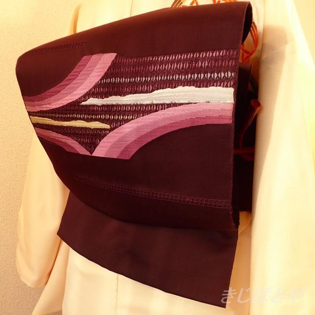 洗えるなごや 紫に織り模様