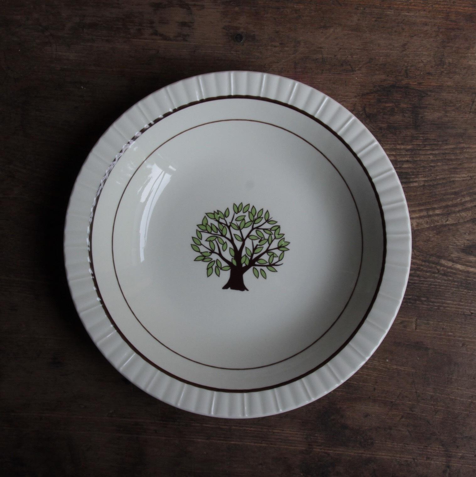ツリー柄 波リムのカレー皿 在庫2枚