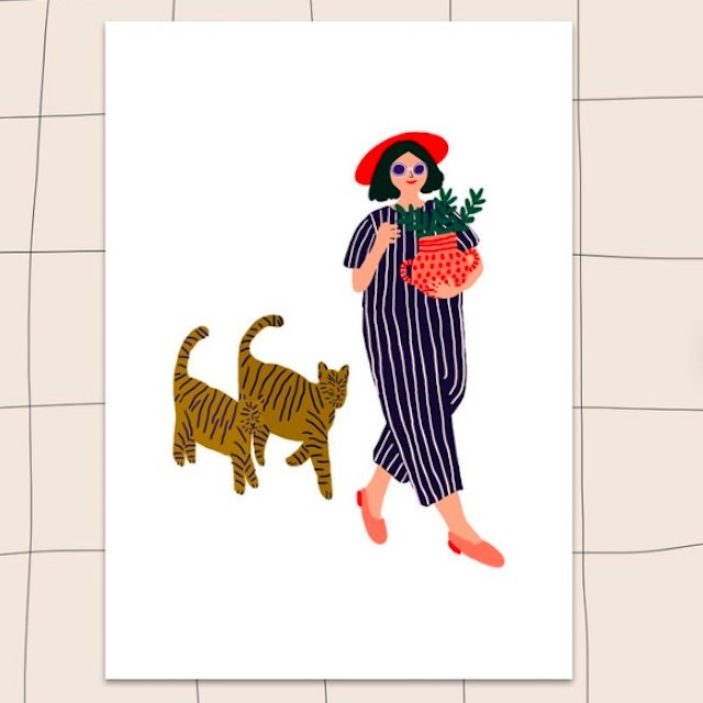 "Jennifer Bouron ""Girl walking with the cat"" A5 print"
