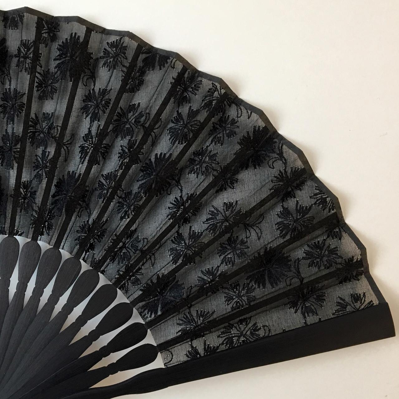 染め透扇子(撫子/黒色)