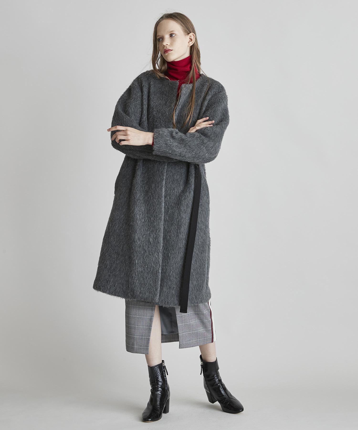 上質シャギーベルト付きノーカラーコート(グレー)