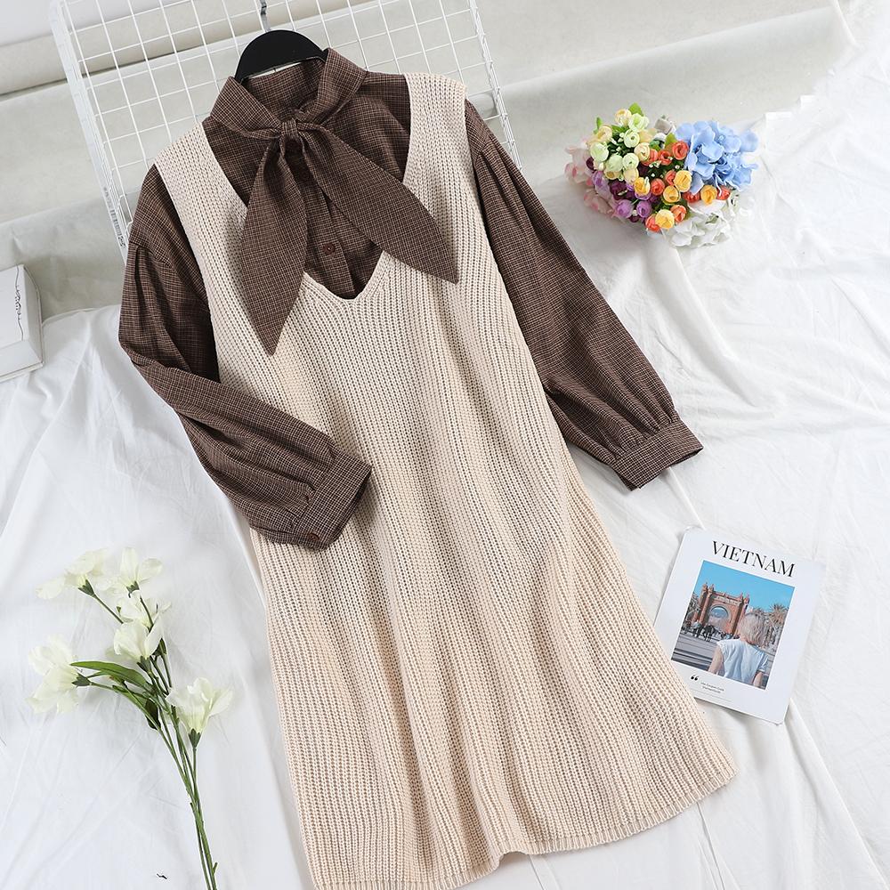 【即納】SET販売・リボンタイシャツ+ニットワンピース