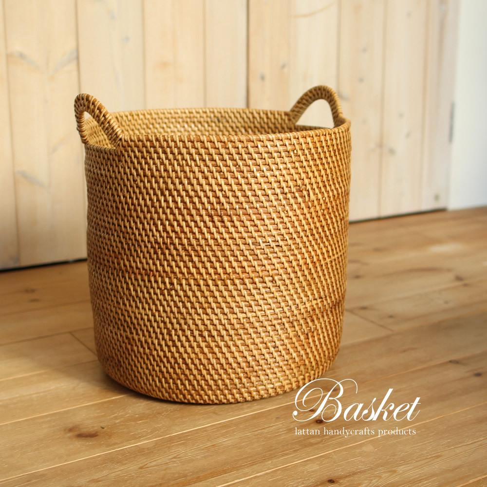 ■当日出荷■ラタン製 手編みのシンプル大きなバスケット 持ち手付き R02