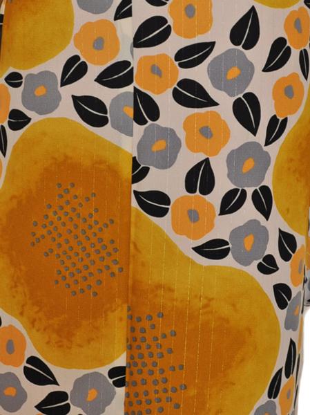 レンタル着物315-1「パーティーきものレンタル」和風館濃い上品な黄色に小さな可愛い椿の柄【往復送料無料】 - 画像5