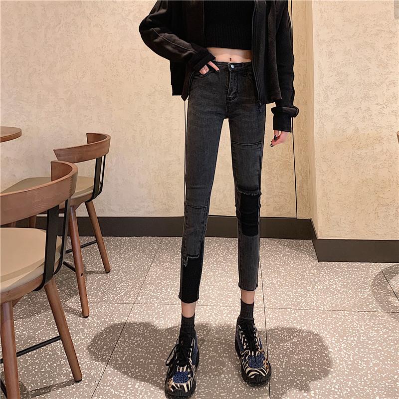 「ボトムス」個性ファッション切り替え配色ストリート2色カジュアルデニムパンツ