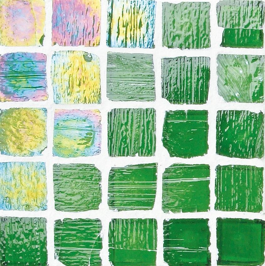 Staind Grass Mosaic【Teal/Pearl】ステンドグラスモザイク【ティ-ル/パ-ル】