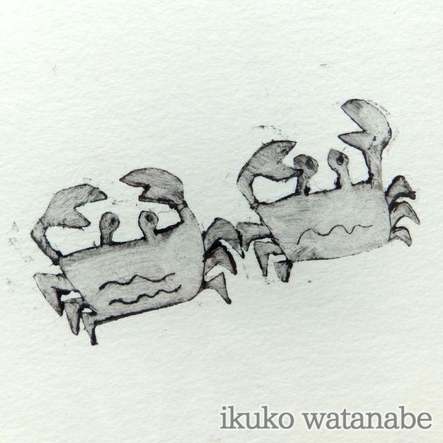 版画カード - かに - わたなべいくこ - no7-wat-02