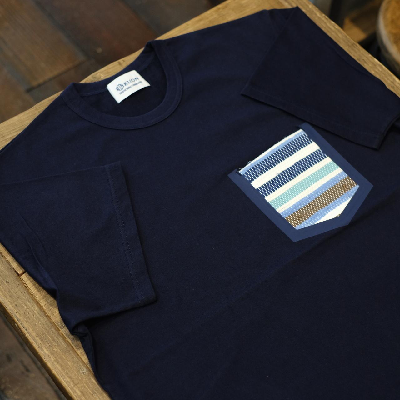 KUON(クオン) 裂織りポケットTシャツ ダークネイビー