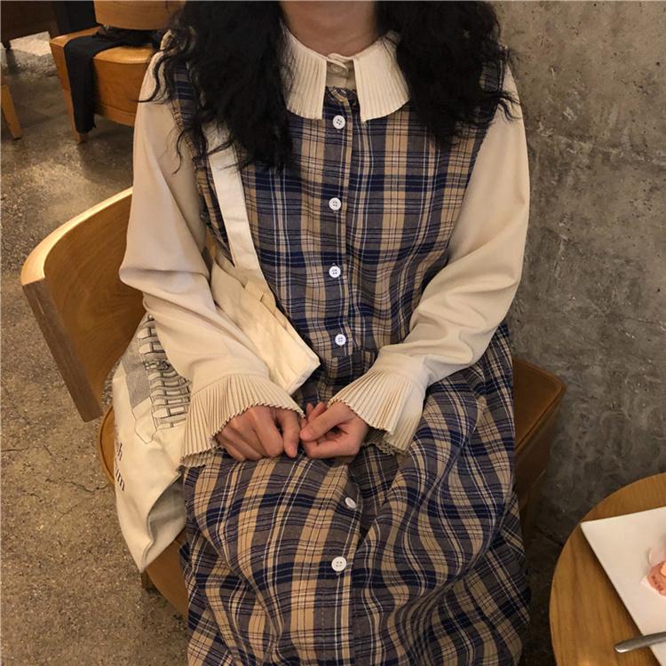 【送料無料】 レトロコーデになれるセットアップ♡ プリーツ袖 ブラウス + チェック柄 ロングワンピース ジャンパースカート
