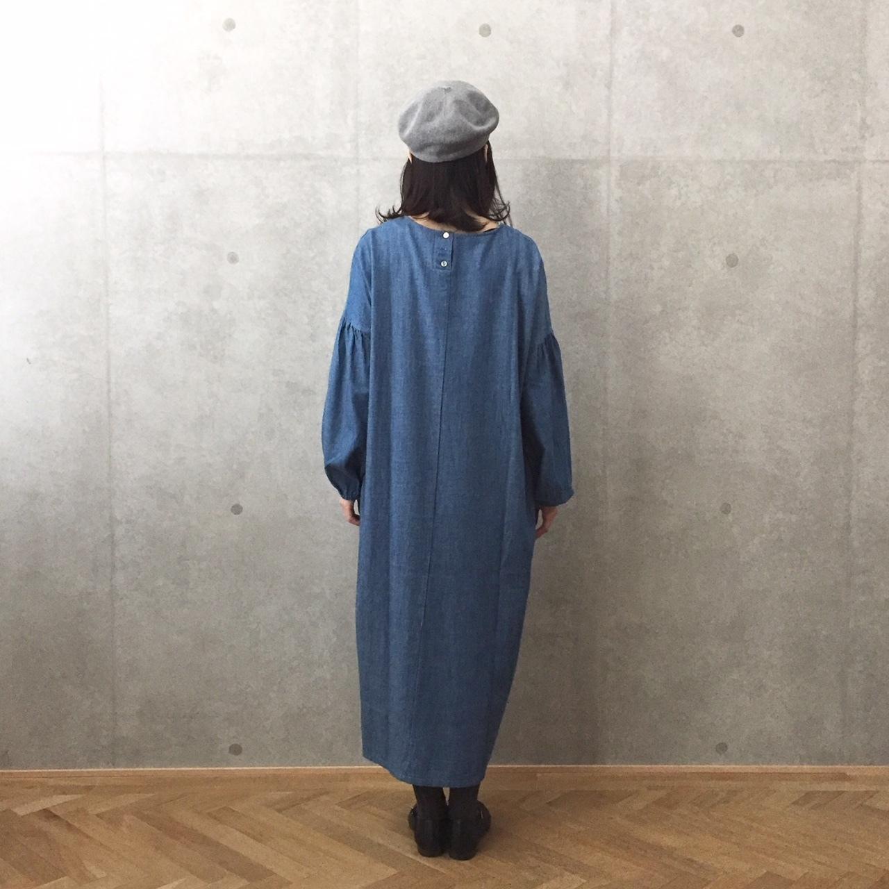 Chronikデニム袖ふくれワンピース
