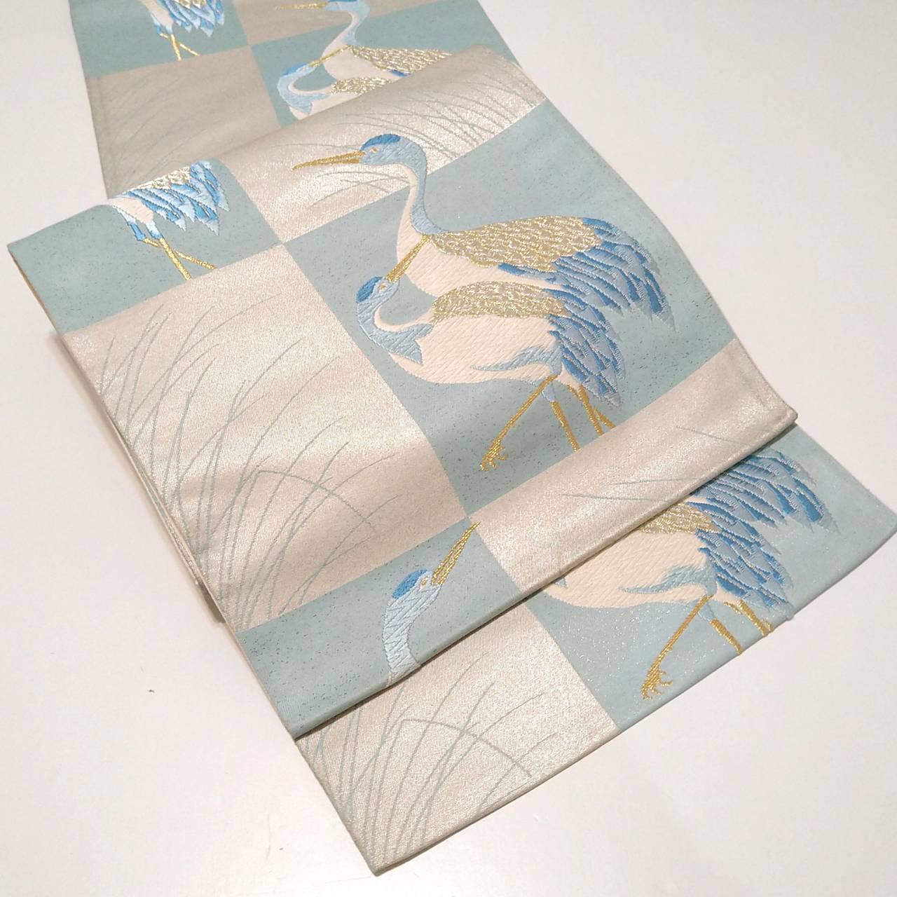 ★ 袋帯 幸せの青い鶴 正絹 銀彩 ★ c035