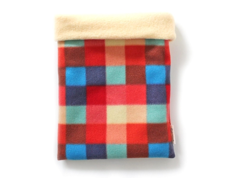 ハリネズミ用寝袋 L(冬用) フリース×フリース カラフルチェックA