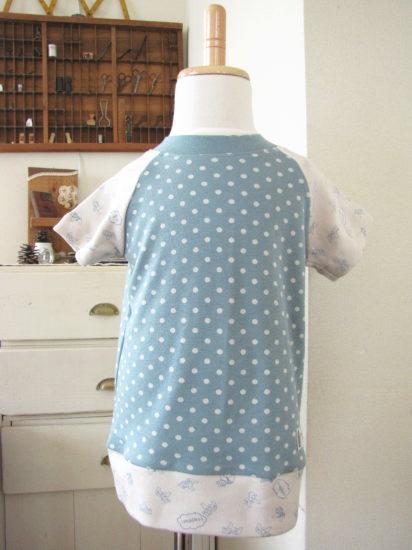 ラグランTシャツ90*水色ドット/onni+gala 型番:11