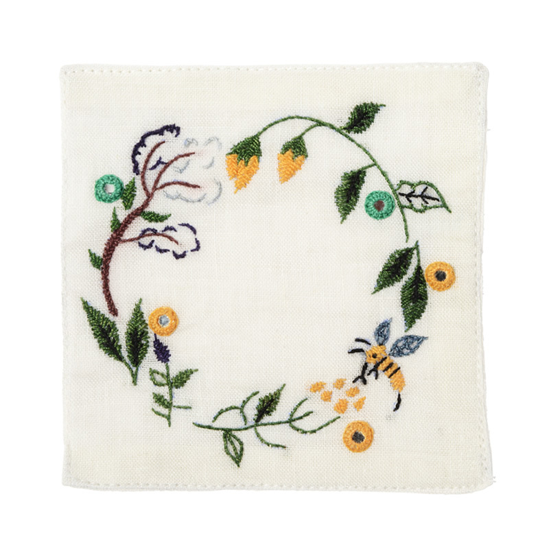【第3世界ショップ】ミラー刺繍コースター ミツバチ柄(白)