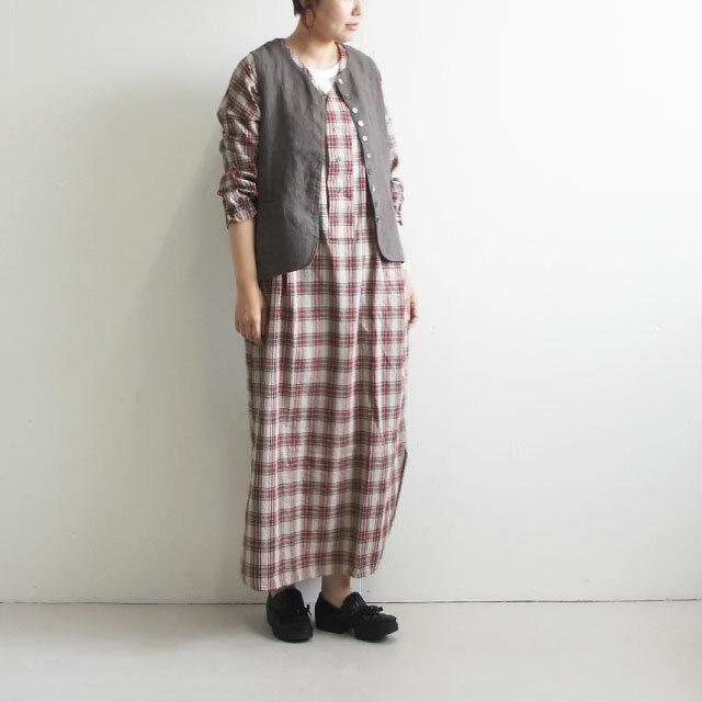 kiino. キイノ タータンチェックヘンリーロングワンピース (品番k-009)