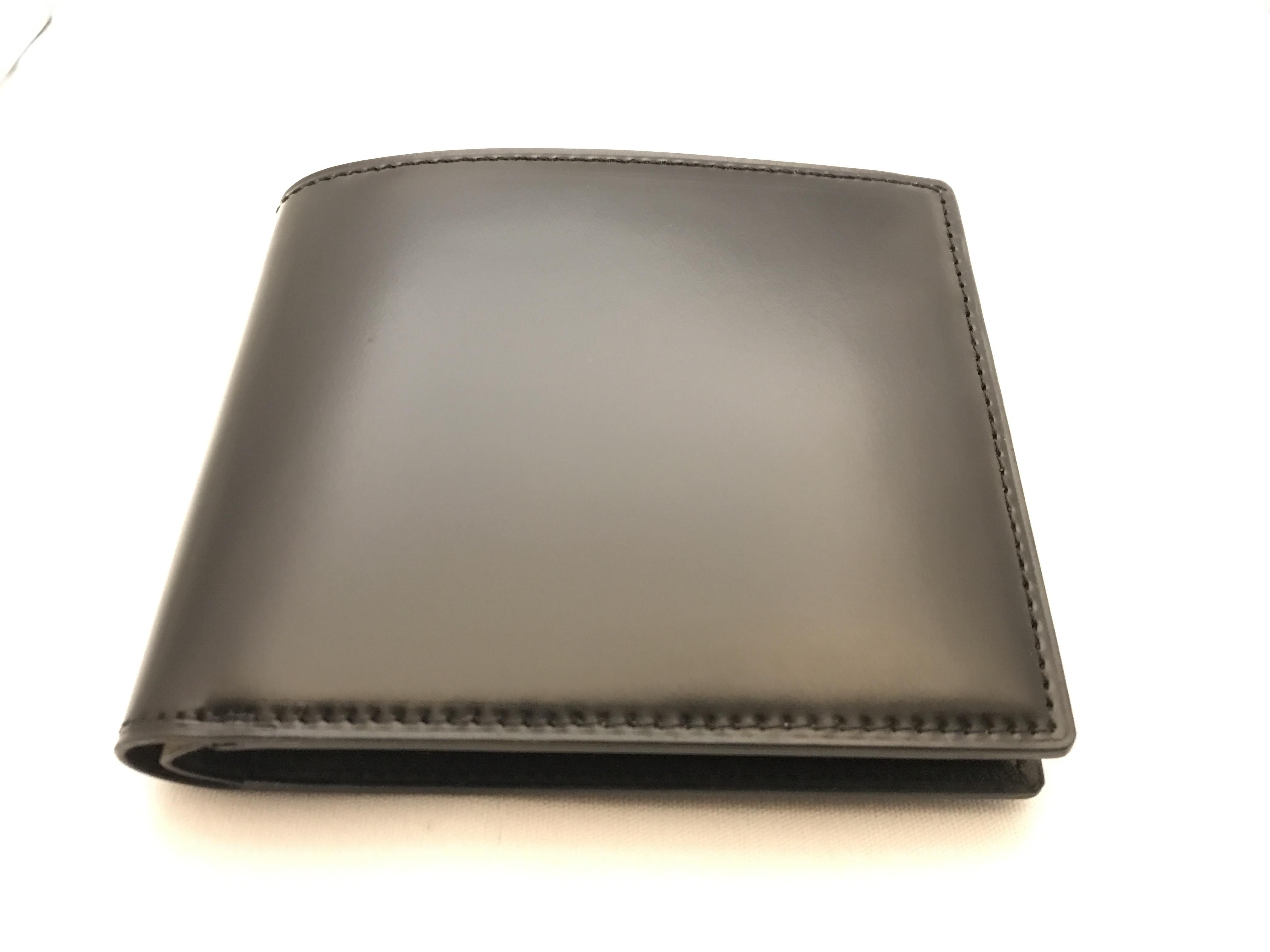 最高級コードバン二つ折札入れ財布 ブラック
