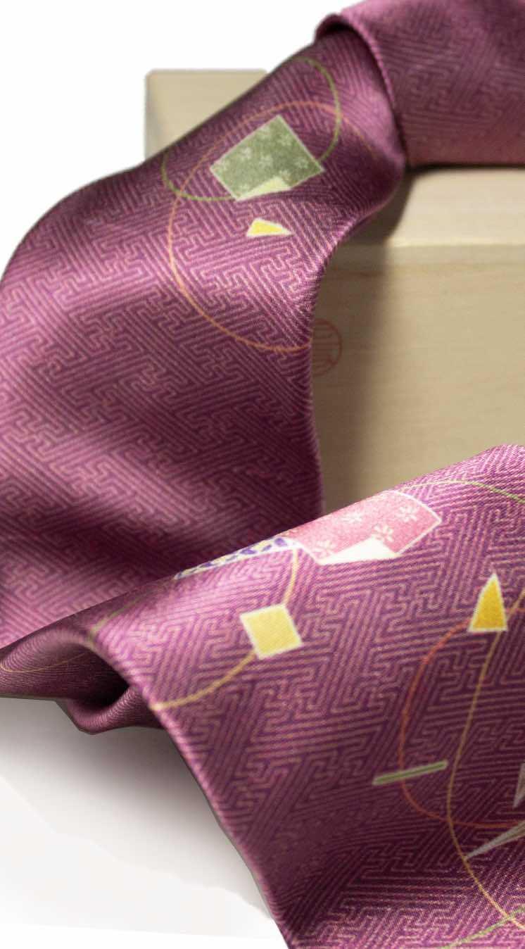 和柄ネクタイ「折り鶴・赤」