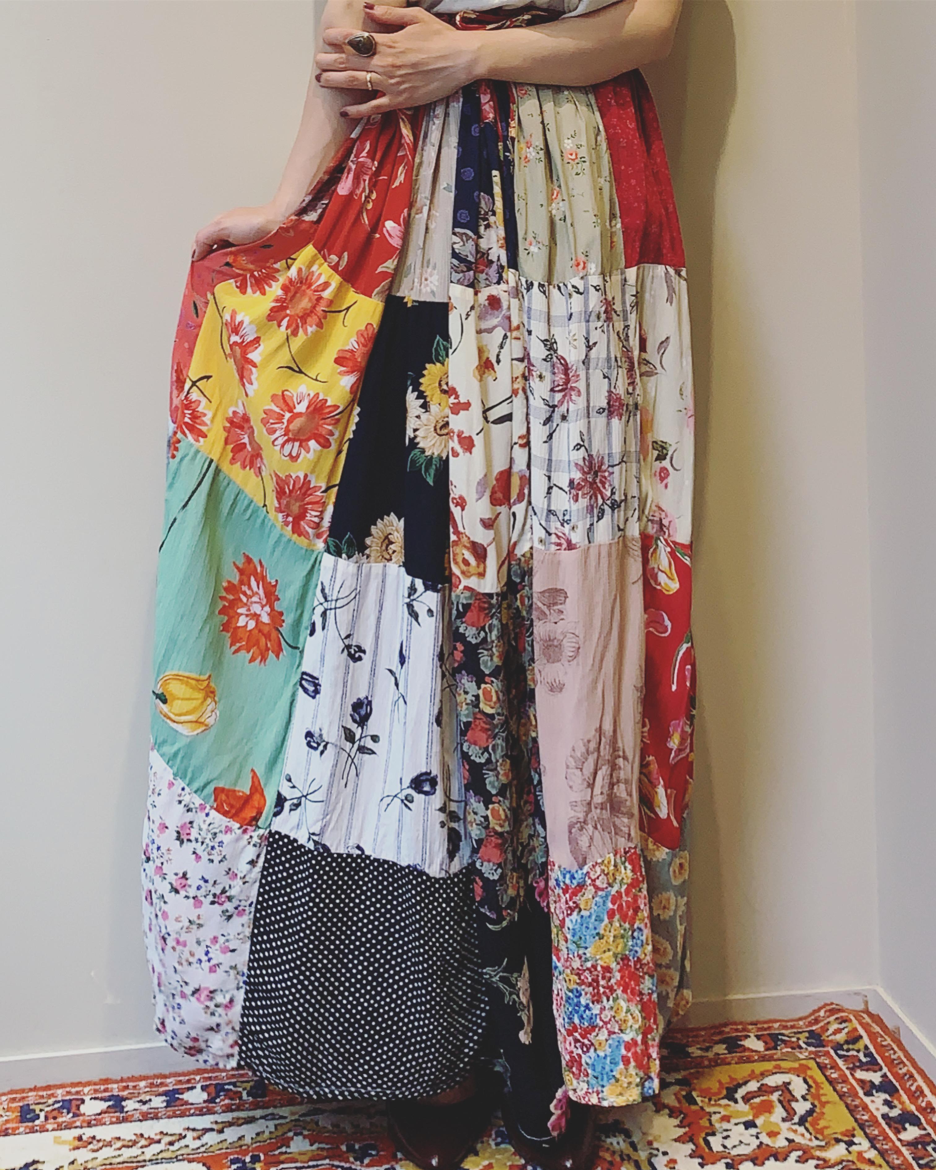 vintage patchwork rayon skirt