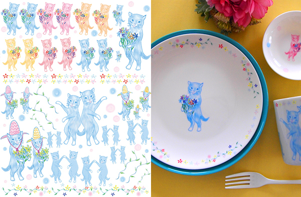水彩 Cats A4サイズ(猫・ネコ  にゃんこ ポーセリンアート用転写紙)