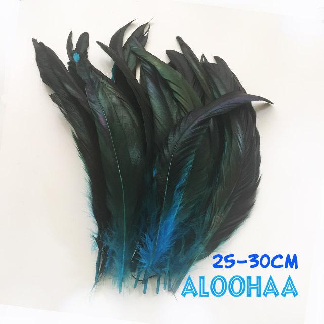 ロングフェザー 【ターコイズブルー】25~30cm タヒチアン 衣装 材料 ルースターテール 染め 羽根