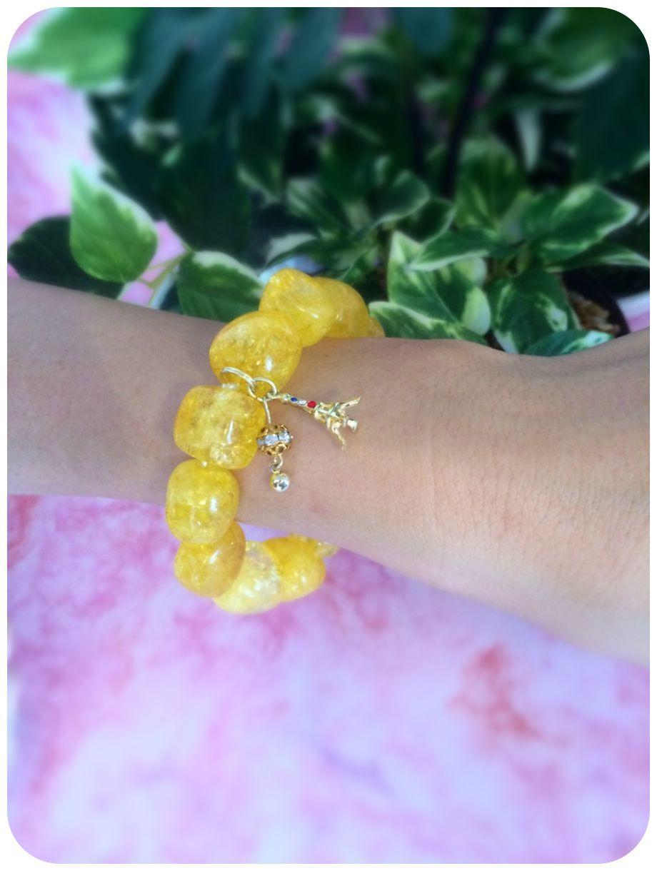 Crack Stone yellow【パワーストーンブレスレット 】 - 画像4