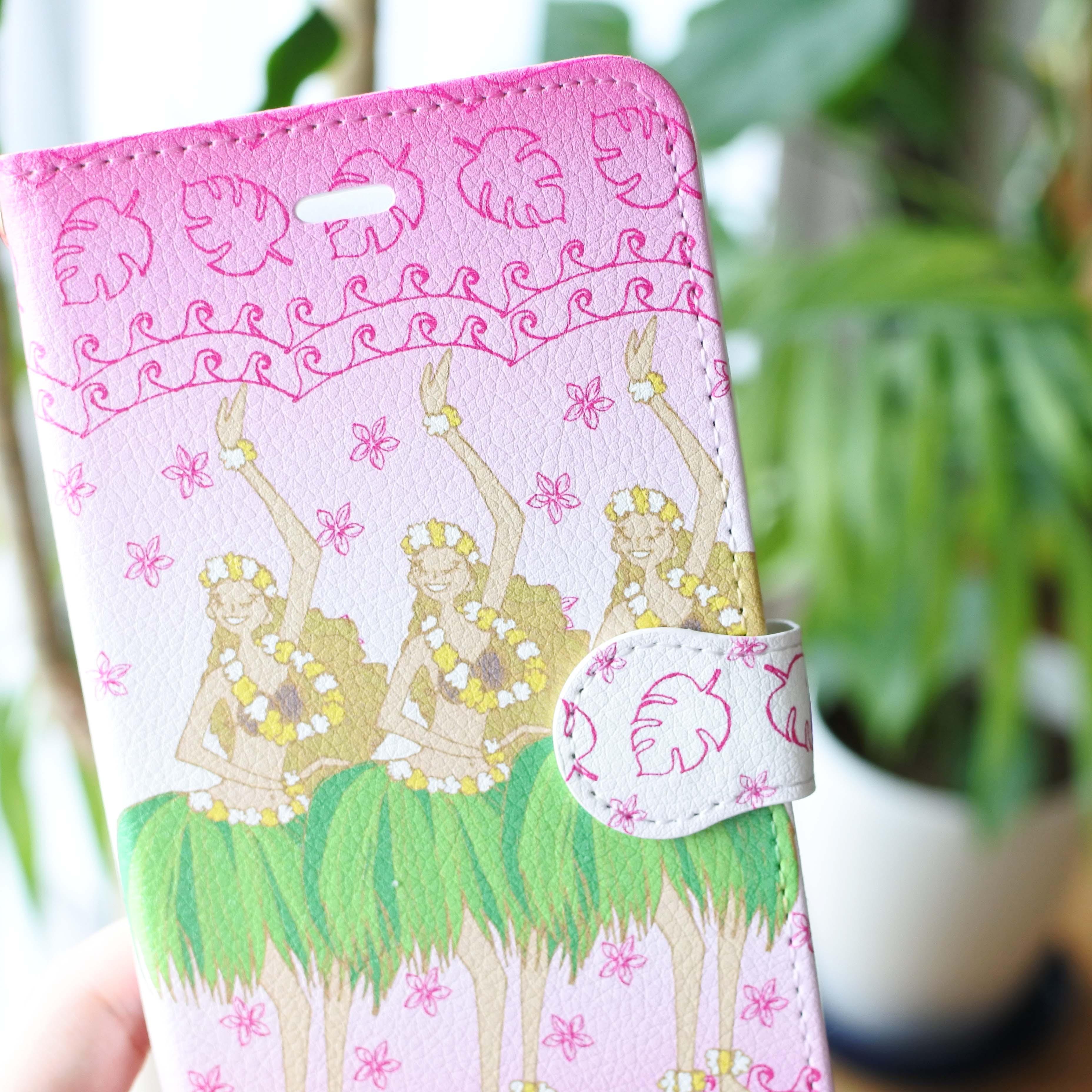(iPhone)フラガールピンク 手帳型スマホケース - 画像3