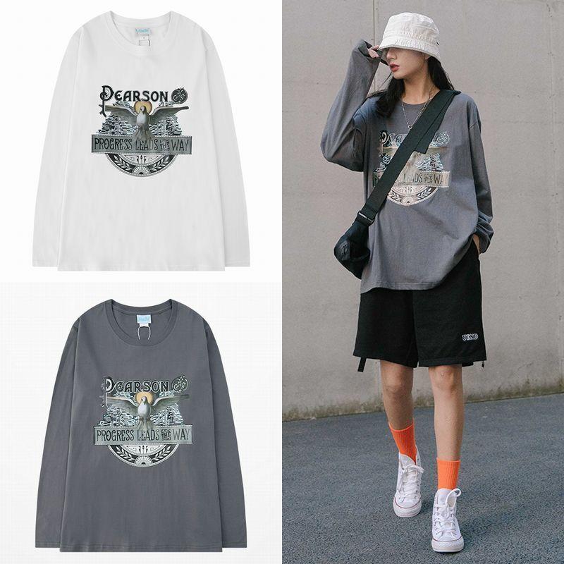 ユニセックス 長袖 Tシャツ メンズ レディース ハト プリント オーバーサイズ 大きいサイズ ストリート