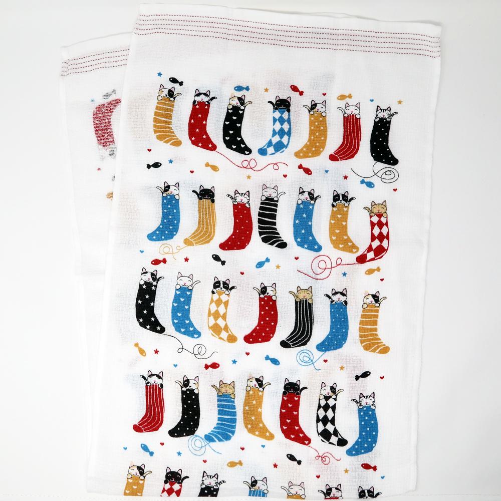 猫タオル手拭い(タオルてぬぐい靴下猫)