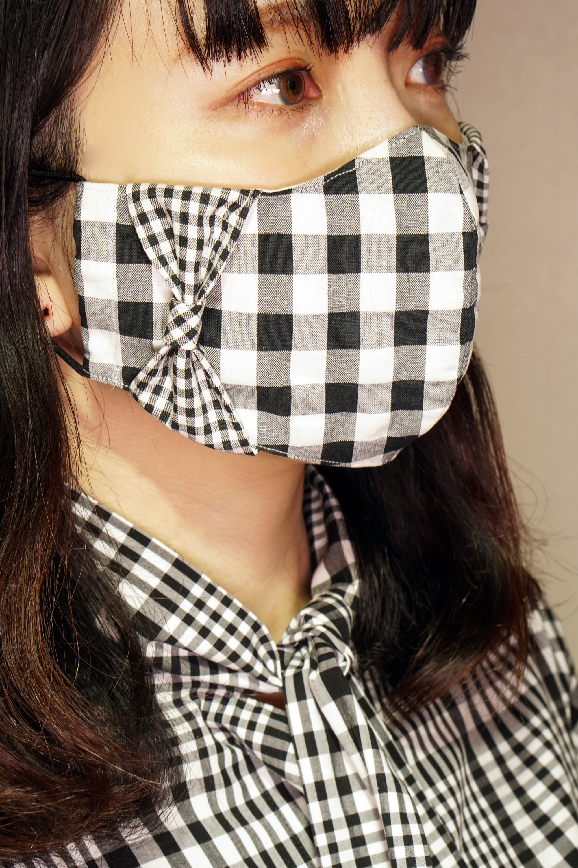 【横顔美人】立体リボンマスク/ギンガムチェック(黒)