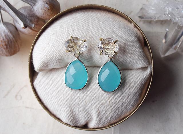 2way:原石のダイヤモンドクォーツとカルセドニーのピアス
