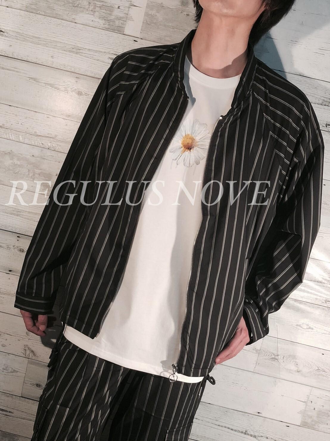 【SETUP対応】 REGULUS NOVE  ノーカラーシャツジャケット メンズ SETUP セットアップ トレンド ストライプ ルーズ シャツ ジャケット MA-1 フライドジャケット バンドカラージャケット