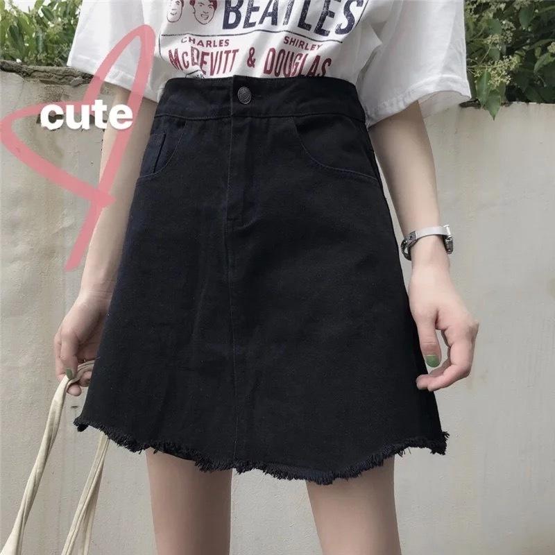 【即納】ブラックデニムミニスカート