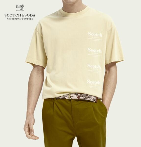 スコッチ&ソーダ SCOTCH&SODA 半袖 Tシャツ クルーネック オーガニックコットン プリント Tシャツ Flax 292-34410