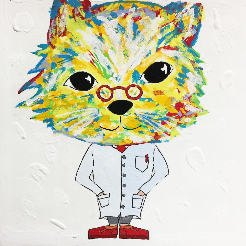 絵画 インテリア アートパネル 雑貨 壁掛け 置物 おしゃれ アクリル画 イラスト 猫 動物 ロココロ 画家 : yuki 作品 : 安心